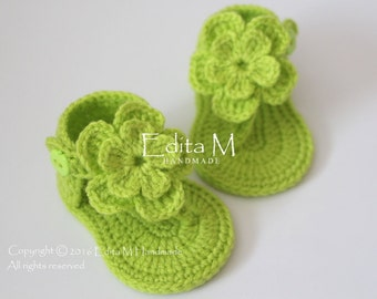 Crochet baby sandals, gladiator sandals, crochet baby booties, baby shoes, baby slippers, baby girl, summer shoes, apple green, gift idea