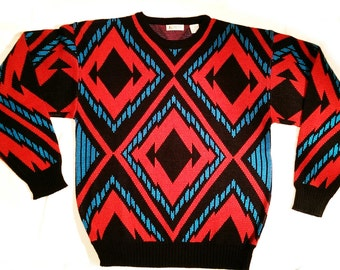 Vintage 80's Men's Graphic Sweater Size Large