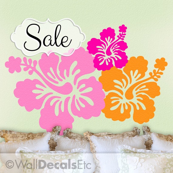 Tropical Decor | Hibiscus Decal | Hawaiian Flowers | 7 Hibiscus Wall Decals | Tropical Wall Decal | Hawaii Wall Decal | Vinyl Wall Decals