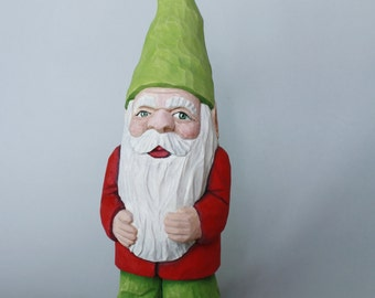Garden Gnome Wood Carving of a Christmas Elf or Collectible Gnome Figurine for Home Decor