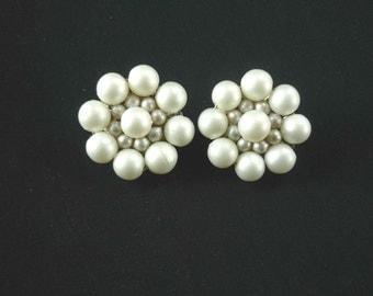 Vintage White Beaded Clip On Earrings Cluster