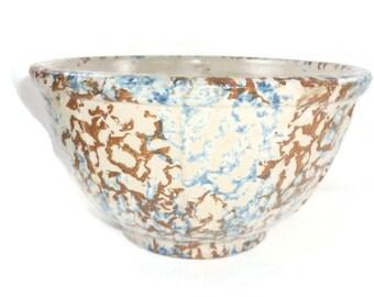 Red Wing Spongeware Mixing Bowl Antique Unmarked Stoneware