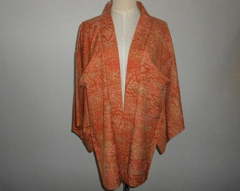 SALE 50%off!! - Vintage haori - Faded orange, Abstract pattern