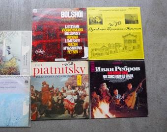Russian Record Lot Mid Century Modern Vintage 1960s USSR Ten 10 Vinyl Records 33 rpm Musical Folk Songs Soviet Army Chorus Sound Recordings