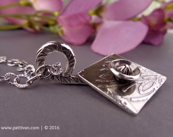 Etched Sterling Flower Necklace