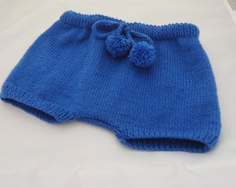 Hand Knitted Baby Diaper Cover, Baby Pants, Baby Bloomers, Blue Baby Nappy Cover