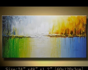 Abstract Wall Painting, expressionism Textured Painting,Impasto Landscape Painting  ,Palette Knife Painting on Canvas by Chen w32