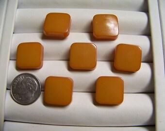 Set of 7 Vintage Square Plastic Shank Buttons Butterscotch Color