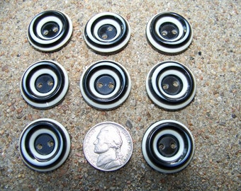 Set of 9 Vintage Licorice Swirl Buttons 7/8""
