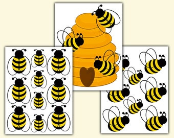 HONEY BUMBLE BEE Hive Decal Baby Girl Boy Nursery Wall Art Stickers Decor Kids Room Childrens