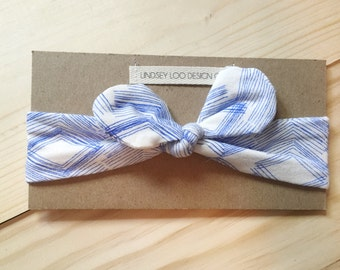 Baby Bow Blue and White Headband || 3-6 Months ||