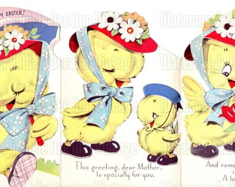 1940s Vintage Easter Greeting Card Baby Chicks For Mother Original Holiday Note Scrapbooking