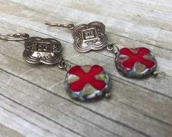 Swiss Army Cross and Vintage Finding Dangle Earrings