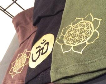 Highwaist foldover waistband Yoga Shorts / ohm shorts / flower of life  / Highwaisted / tripple moon goddess