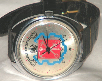 Russia St Petersburg Flag Mechanical Russian Watch with Leather Band
