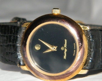 Vintage Mathey Tissot Swiss Made Black Dial Quartz Watch
