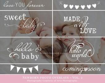 Newborn Photo Overlays vol.2 - newborn word art, photography overlays for Photoshop, for newborn photographers