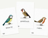 Mini garden bird prints -...