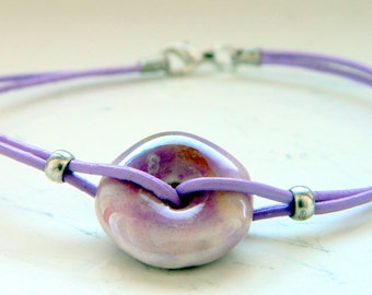 Lilac Leather Ceramic Bead Bracelet - Inspired by The Shannara Chronicles