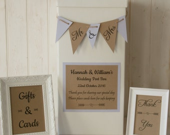 Personalised Wedding Card Post Box Hessian twine BUNTING Gifts & Cards SIGNS