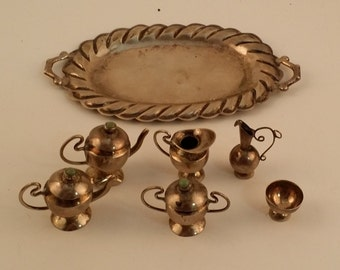 Vintage Miniature Sterling Silver Tea Set -- Teapots, Creamer, Sugar Bowl, Pitcher, Cup, and Tray -- Made in Mexico