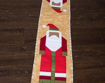 Black Santa Quilted Table Runner