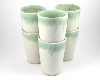 Cups, tumblers, glasses in Green Patina and Gloss White set of six