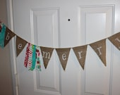 SALE Be Merry Burlap Banner and Fabric Garland Rag Tie Banner Party Decoration, Photo Prop Backdrop