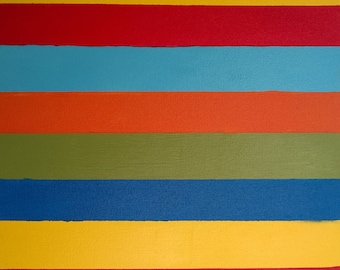 Abstract Multi-Color Stripes - Oil on Stretched Gallery Canvas - Custom Order