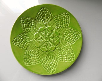 Apple Green Ceramic Lace Dessert Plate Ivory Green Pottery Serving Plate Side Dishes