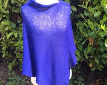 Wool Shawl Poncho /Wool Light Wrap /Blue Wool Poncho /Knit Poncho Wrap /Looose Sweater /Oversized Sweater/ Blue Knit Cape / Plus Size Wrap