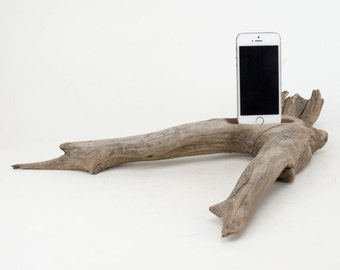 Docking Station for iPhone, iPhone dock, iPhone Charger, iPhone Charging Station, iPhone driftwood dock, wood iPhone dock/ Driftwood-No. 857