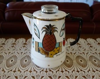 Vintage Coffee Maker, Percolator, Mid Century, Retro, Stovetop Coffee Maker, Enamelware, Coffee Pot, Kitchen, Atomic Age, Designer Cookware