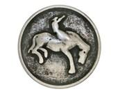 10 Bronco Cowboy 11/16 inch ( 18 mm )  Metal Buttons Antique Silver Color