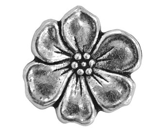 3  TierraCast Apple Blossom 5/8 inch ( 15 mm ) Silver Plated Pewter Buttons