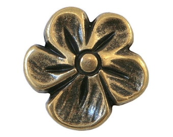 30 Blossom 9/16 inch ( 15 mm ) Metal Buttons Antique Brass Color