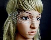 gold silver or black glitter star french veil eye mask masquerade vogue inspired 100% handmade adjustable
