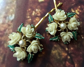 Decorative Hair Pins Jewelry 1940 1950's Ivory Winter Rose Pearl Bridal Bobby Pins Hairpins