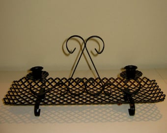 Mid Century Black Perforated Metal Candle Holder