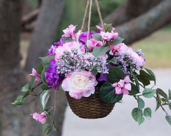 Purple and pink hanging floral basket