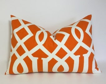 Orange pillow cover. Geometric lumbar accent pillows, orange pillow. sofa pillows