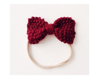 Knit Bow on Elastic band for Babies, Burgundy Knit Bow Headband