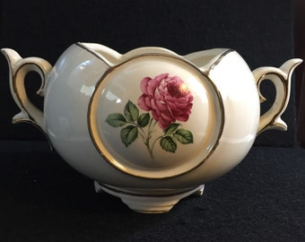 Vintage McCoy Jardiniere Planter Pottery Pink Rose