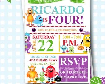 monster invitations monster birthday invitation printable invitation monster party little monster party - Monster Birthday Party Invitations