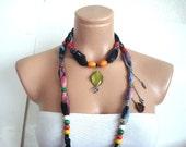 Wooden Beaded black Cotton Scarf, Cotton Necklace, cowl, beaded Belt, Headband, Neck wrap Gift for woman, Turkish Scarf Yemeni
