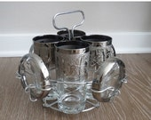 60% OFF Mid Century Silver Ombre Cocktail Set with Caddy and Coasters