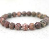 Leopard Jasper Stone Stretch Bracelet / Gifts under 20
