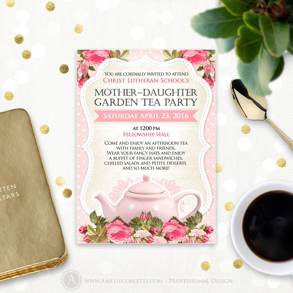 Pink Mothers Day Flyer Template For Free Download On Pngtree: Printable Tea Party Invitation Pink Template Mother