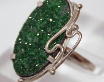 Uvarovite  Ring, Green Garnet Ring, 9ъ8,5 size  FREE SHIPPING