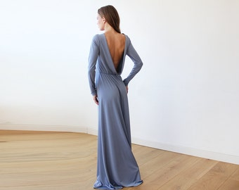 Open back maxi Dusty blue dress with long sleeves , Backless maxi dusty blue gown 1041